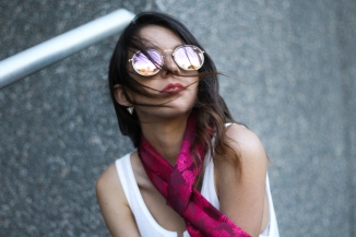 red silk scarf and sunglasses