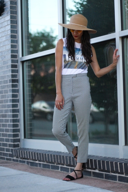 strappy sandals and gingham pants