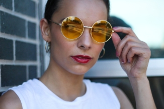 round yellow sunglasses