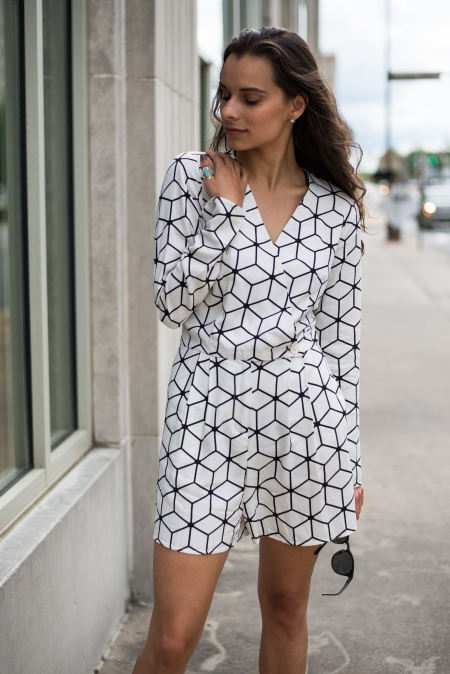 Geometric Black and White Romper