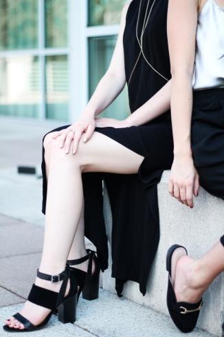 Strappy Black Heels and Black Dress