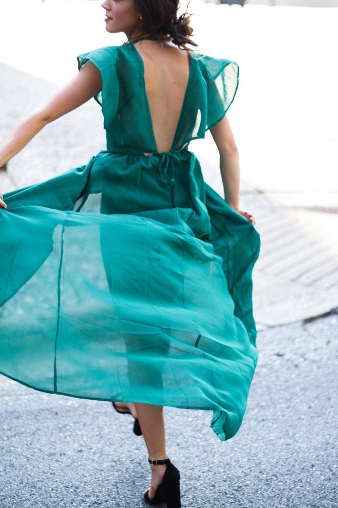 Flowy Emerald Green Dress
