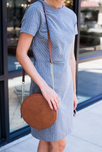 Gray Striped Dress and Circle Purse