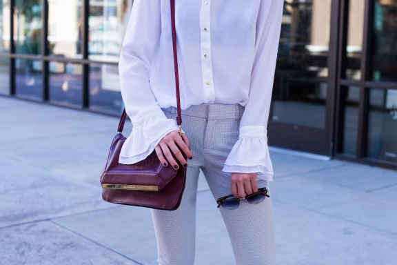 Statement Sleeves and Marsala Clutch