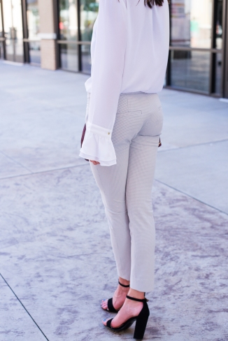 Gray Banana Republic Pants and White Top