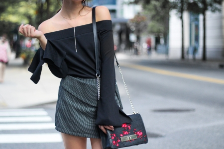 Off-the-Shoulder Top and Statement Purse