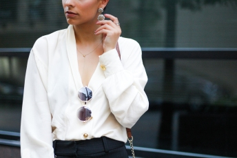 Silk Top and Statement Earrings