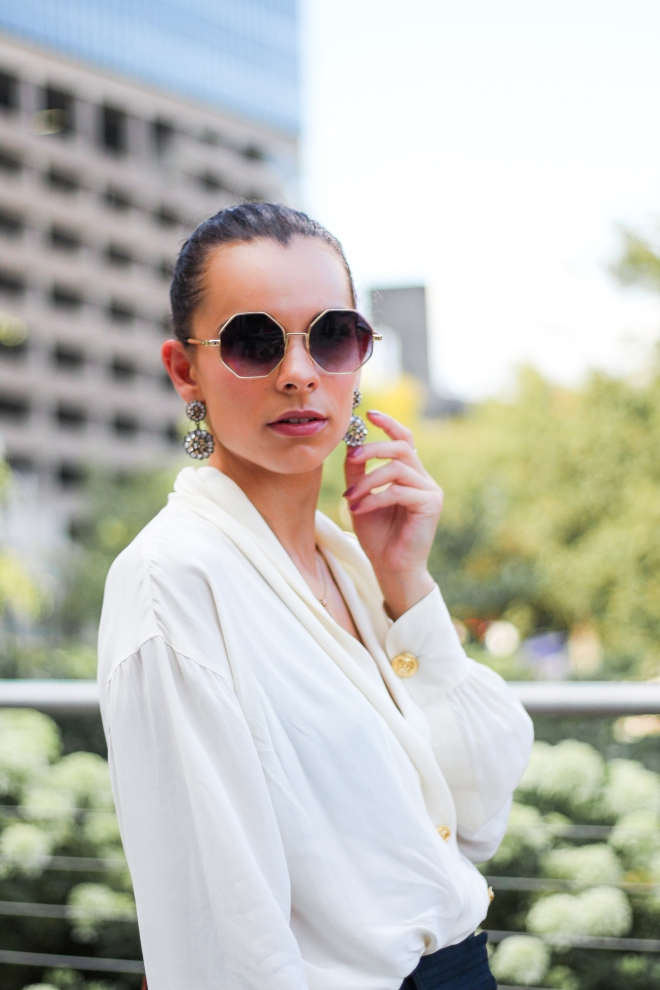 Statement Earrings and Sunglasses