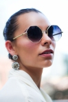 Geometric Sunglasses & Statement Earrings