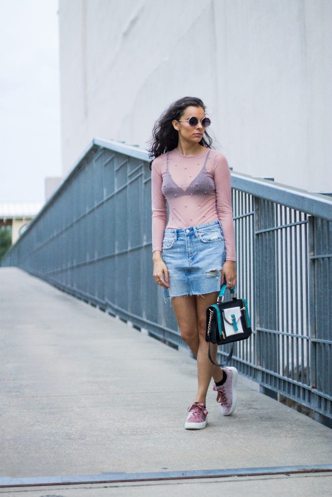 Sheer Pearl Top, Denim Skirt, and Velvet Sneakers