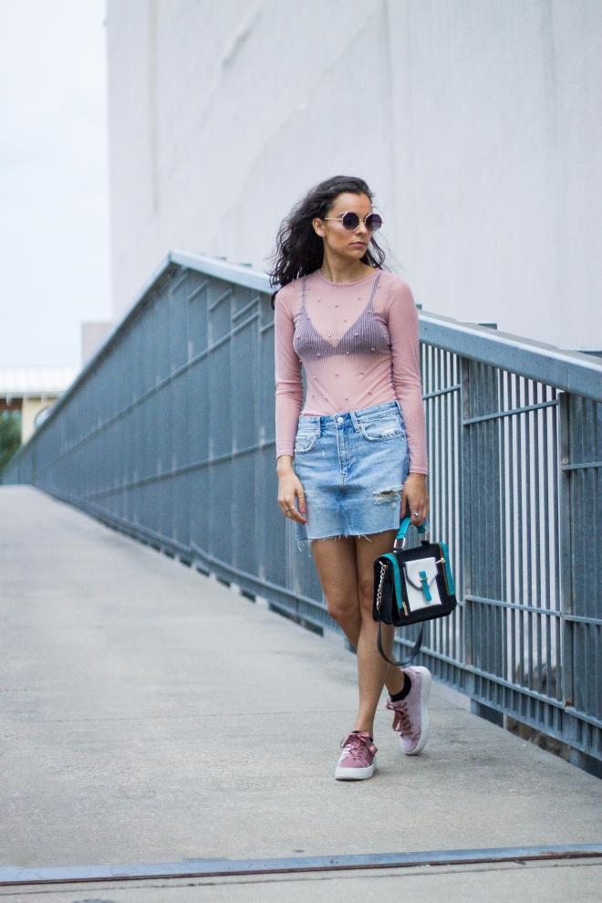 Sheer Pearl Top, Denim Skirt, and Velvet Sneakers