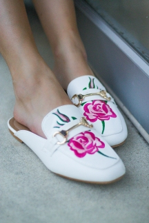 Embroidered White Mules