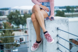 Blush Pink Top, Sneakers, and Sunglasses