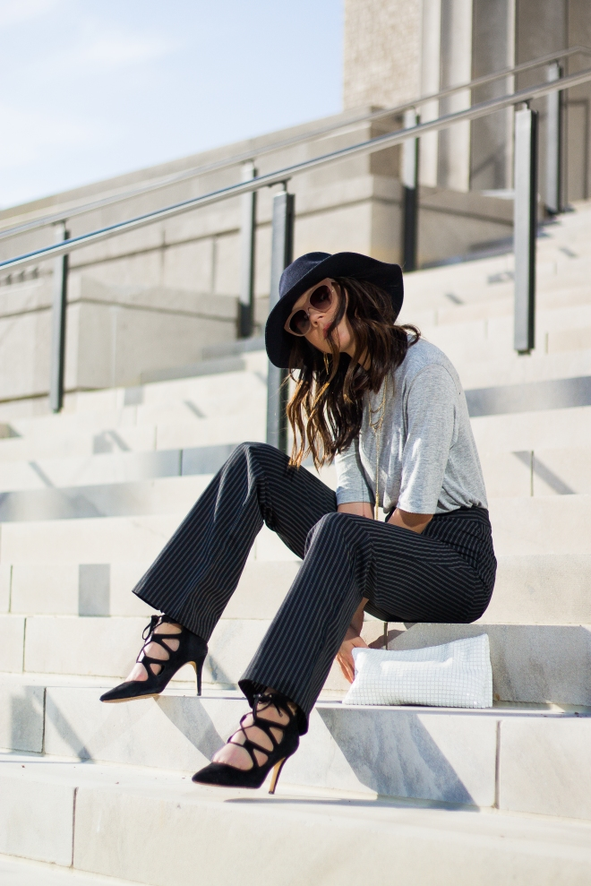 Wide Leg Pants, Strappy Heels, and A Floppy Hat