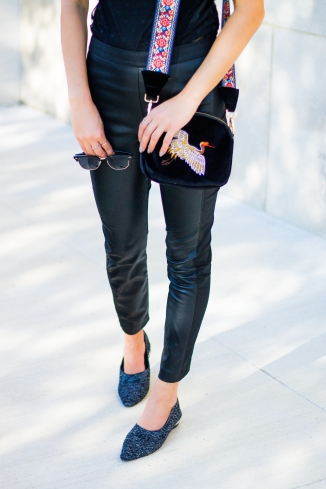 Fashion Ideas: Statement Strap Purse and Leather Pants
