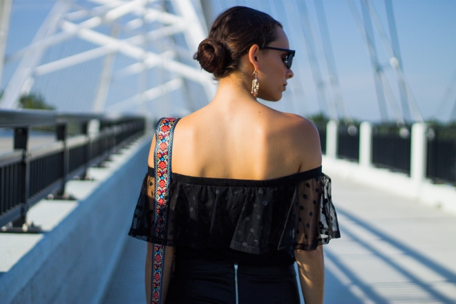 Off-The-Shoulder Top and Statement Purse Strap
