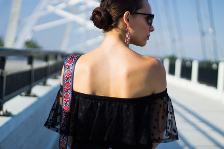 Off-The-Shoulder Top and Statement Earrings