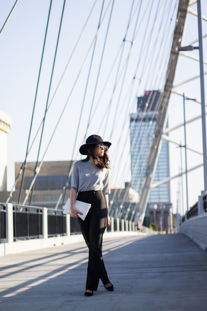 Fashion Outfits: Wide Leg Pants, Strappy Heels, and A Floppy Hat