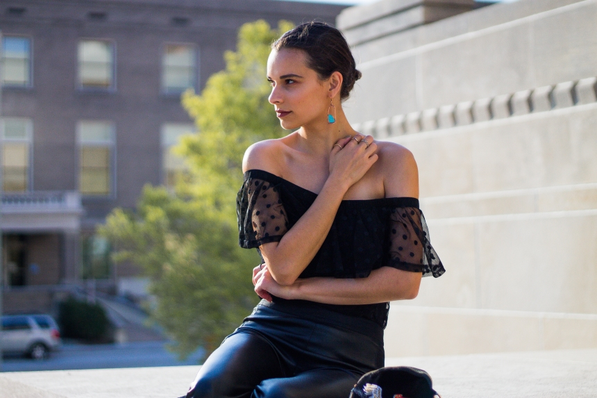 Online Fashion: Off-The-Shoulder Top and Earrings