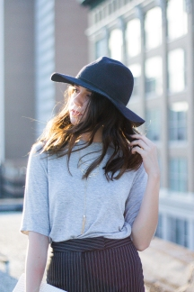 Fashion Ideas: Striped Pants, Gray Tee, and Black Hat